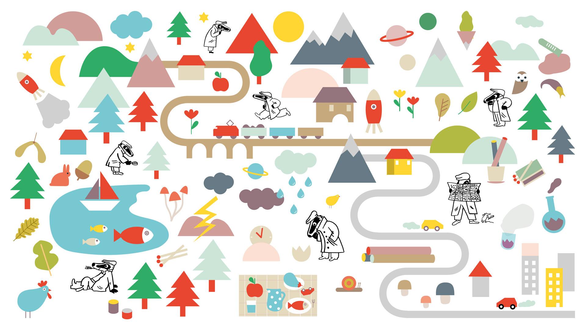 Illustration Hintergrundbild Dachse auf Abenteuer