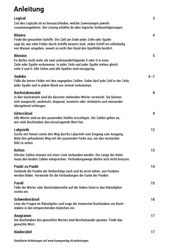 Produktvorschau Rätselheft 1_Inhaltsverzeichnis