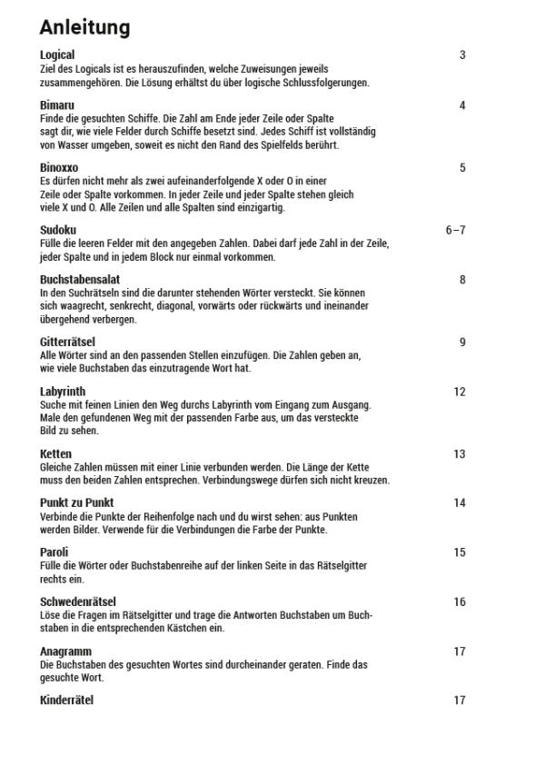 Produktvorschau Rätselheft 2_Inhaltsverzeichnis